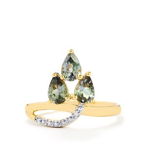 Bi-Color Tanzanite & Diamond 10K Gold Ring ATGW 1.22cts