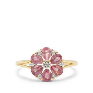 Padparadscha Sapphire & White Zircon 9K Gold Ring ATGW 1.31cts