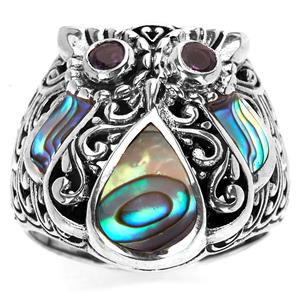 Abalone and Zambian Amethyst Samuel B Owl Ring in Sterling Silver