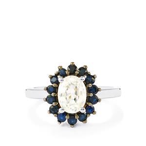 Singida Tanzanian Zircon & Blue Sapphire Sterling Silver Ring ATGW 2.70cts