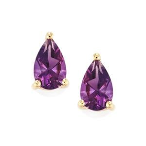 Moroccan Amethyst Earrings in 9K Gold 1.59cts