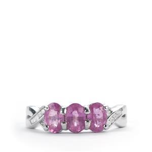 Ilakaka Hot Pink Sapphire & White Topaz Sterling Silver Ring ATGW 2.04cts (F)