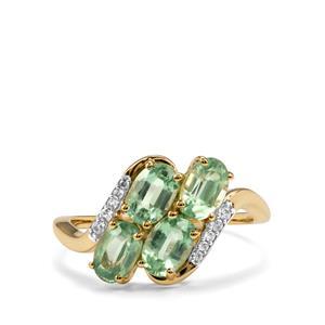 Odisha Kyanite & White Zircon 9K Gold Ring ATGW 2.49cts