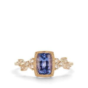 AAA Tanzanite Ring with White Zircon in 9K Gold 1.35cts