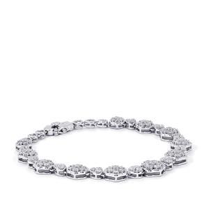Diamond Bracelet in Sterling Silver 4cts