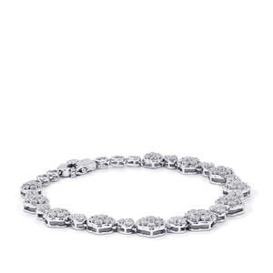 4ct Diamond Sterling Silver Bracelet