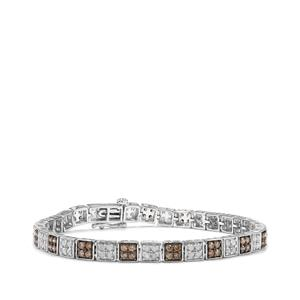 Champagne Diamond Bracelet with White Diamond in 9K White Gold 3.25cts