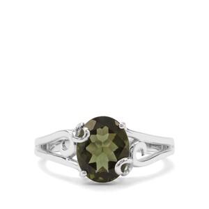 2.04ct Moldavite Sterling Silver Ring