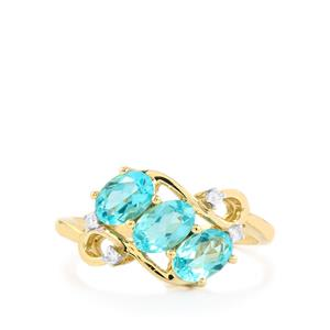 Madagascan Blue Apatite Ring with Diamond in 10k Gold 1.43cts