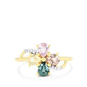 Natural Sakaraha Rainbow Sapphire & Diamond 9K Gold Ring ATGW 1.56cts
