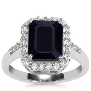 Madagascan Blue Sapphire & White Topaz Sterling Silver Iconic Ring ATGW 4.46cts