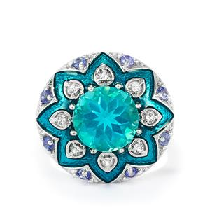 Tanzanite, Batalha Topaz Enamel Ring with White Topaz in Sterling Silver 4.84cts