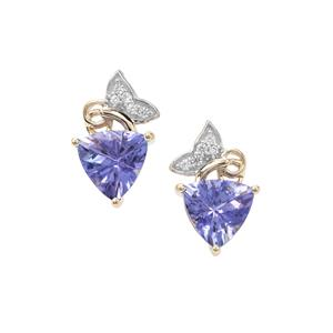 AA Tanzanite Earrings with White Zircon in 9K Gold 1.88cts