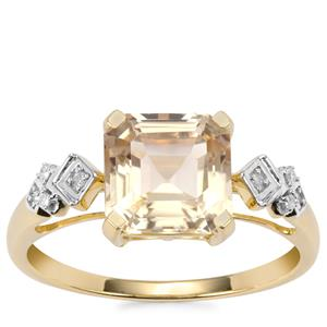 Asscher Cut Serenite Ring with Diamond in 9K Gold 2.12cts