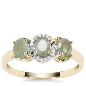 Alexandrite Ring with Diamond in 9K Gold 0.97cts