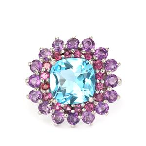 Bahia Amethyst, Swiss Blue Topaz Ring with Nampula Garnet in Sterling Silver 7.50cts