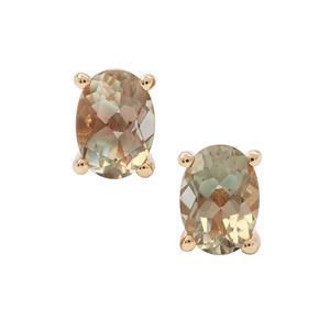 1.50ct Teal Oregon Sunstone 9K Gold Earrings