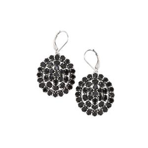 Black Spinel Earrings in Sterling Silver 17.27cts