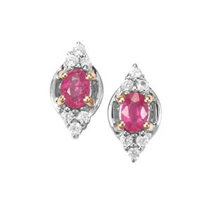 Montepuez Ruby Earrings with White Zircon in Sterling Silver with 18K Gold Prong 0.49ct