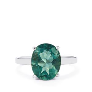 Tucson Green Fluorite Ring in Sterling Silver 4.36cts