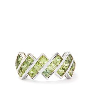 3.28cts Green Sapphire Sterling Silver Ring