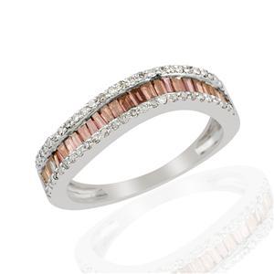 1/2ct Red & White Diamond 9K White Gold Ring