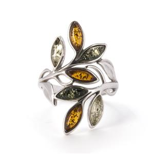 Baltic Cognac, Green & Champagne Amber Ring in Sterling Silver