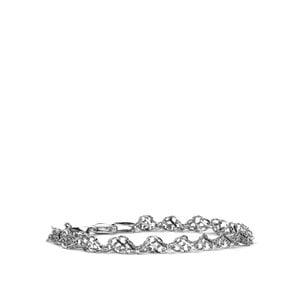 """7.5"""" Rhodium Plated Sterling Silver Altro Twist Double Curb Bracelet 4.00g"""