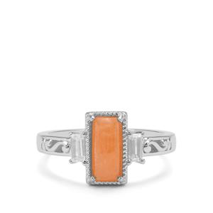 Triphylite Ring with White Zircon in Sterling Silver 1.66cts