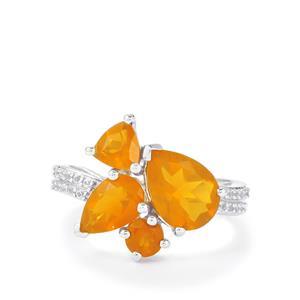 AA Orange, Honey American Fire Opal & White Topaz Sterling Silver Ring ATGW 2.51cts