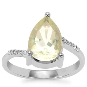 Chartreuse Sanidine Ring with White Topaz in Sterling Silver 2.55cts