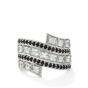 Aqua Cullinan Topaz & Black Spinel Sterling Silver Ring ATGW 3.36cts