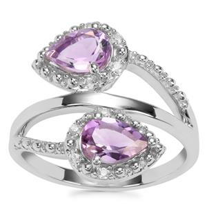 Moroccan Amethyst Ring with White Zircon in Sterling Silver 1.31cts