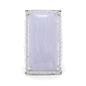 28.67ct Blue Lace Agate Sterling Silver Ring