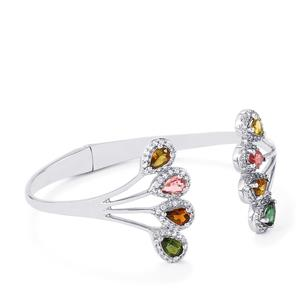 Rainbow Tourmaline Bangle with White Topaz in Platinum Plated Sterling Silver 4.25cts