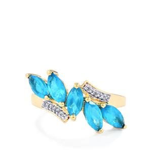 Neon Apatite Ring with Diamond in 10k Gold 1.82cts