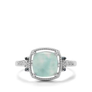 Aquaprase™, White Zircon & Blue Diamond Sterling Silver Ring ATGW 2.31cts