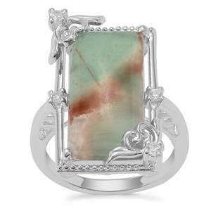 Aquaprase™ & White Zircon Sterling Silver Ring ATGW 8.51cts