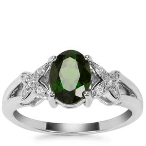 Chrome Diopside Ring with White Zircon in Sterling Silver 1.40cts