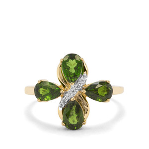 Chrome Diopside & White Zircon 9K Gold Ring ATGW 2.08cts