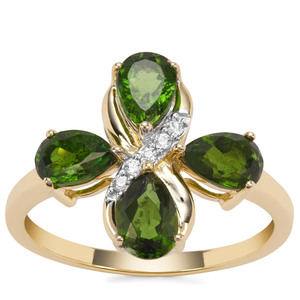 Chrome Diopside Ring with White Zircon in 9K Gold 2.08cts