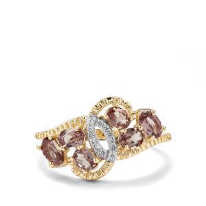 Miova Loko Garnet & White Zircon 9K Gold Ring ATGW 1.46cts