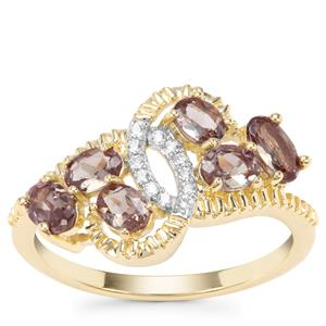 Miova Loko Garnet Ring with White Zircon in 9K Gold 1.46cts