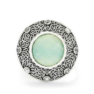 Aqua Chalcedony & White Zircon Sterling Silver Ring ATGW 8.38cts