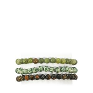 Pietersite, Serpentine & Zoisite Set of 3 Stretchable Bead Bracelet ATGW 175cts