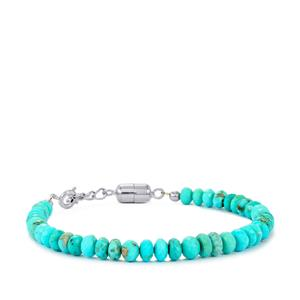 Sleeping Beauty Turquoise Graduated Bead Bracelet with Magnetic Clasp in Sterling Silver 32cts