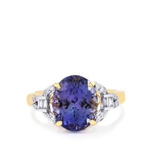 AAA Tanzanite Ring with Diamond in 18k Gold 5.68cts