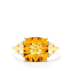 Lehrer QuasarCut Rio Golden Citrine Ring with Diamond in 10K Gold 3cts
