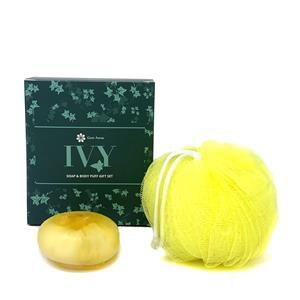 Gem Auras Ivy Soap & Exfoliating Body Puff Gift Set - Citrine & White Jade ATGW 60cts