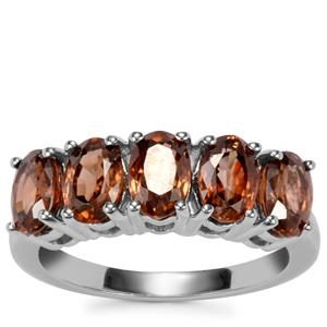 Cognac Zircon Ring in Sterling Silver 4.23cts